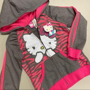 Hello Kitty Hoodie Full Zip Sanrio Gray Pink NEW